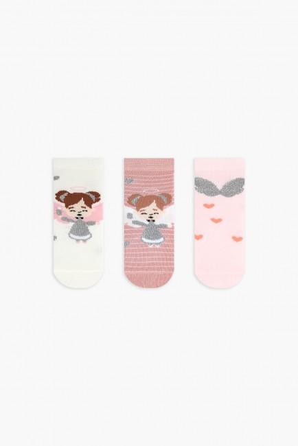 Bross - Bross 3'lü Simli Melek Desenli Bebek Çorabı