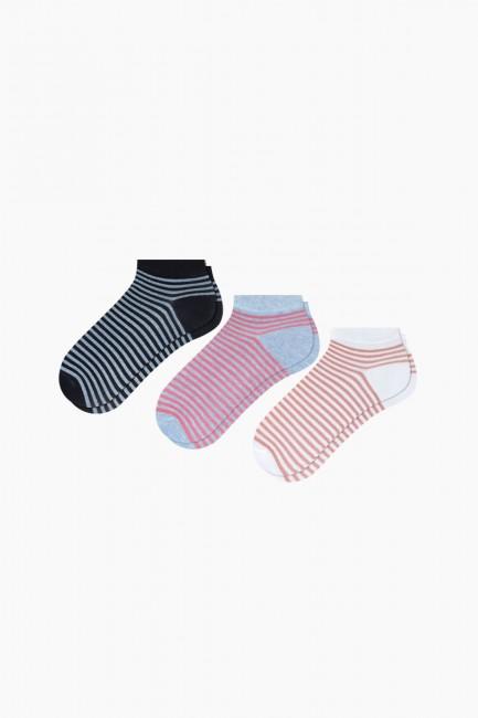 Bross - Bross 3'lü Simli Patik Kadın Çorabı