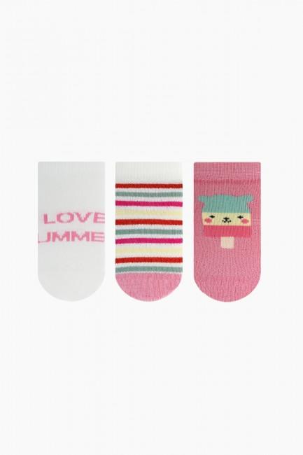 Bross - Bross 3'lü Summer Desenli Patik Bebek Çorabı