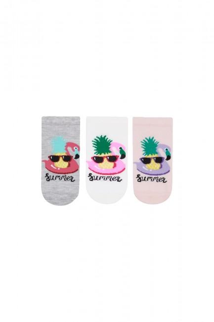 Bross - Bross 3'lü Summer Yazılı Patik Çocuk Çorabı