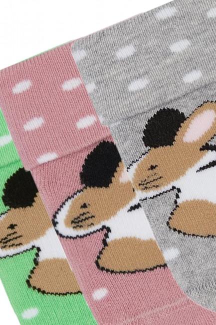 Bross 3'lü Tavşan Desenli Havlu Bebek Çorabı - Thumbnail