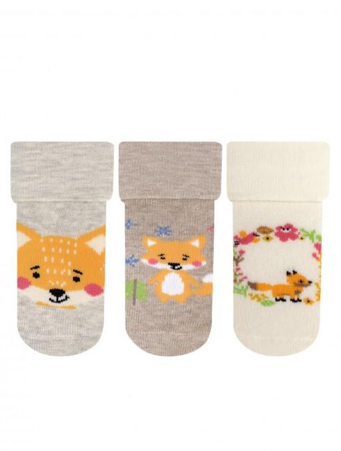 Bross - Bross 3'lü Tilki Desenli Havlu Bebek Çorabı