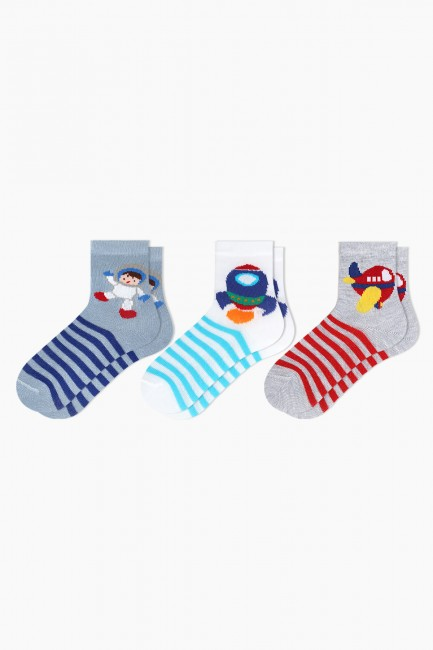 Bross - Bross 3'lü Uzay Desenli Bebek Çorabı