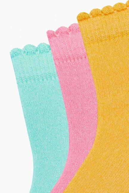 Bross 3'lü Yazlık Simli Kadın Çorabı - Thumbnail