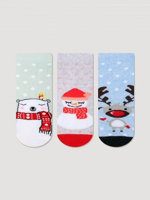 Bross - Bross 3'lü Yeni Yıl Desenli Çocuk Çorabı