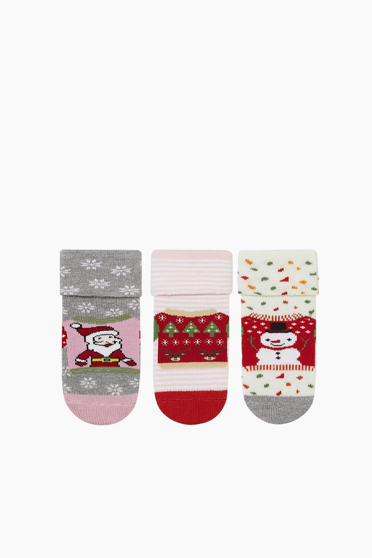 Bross 3'lü Yılbaşı Desenli Havlu Bebek Çorabı