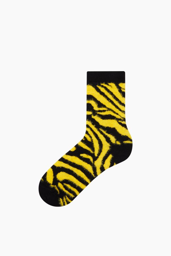 Bross 3'lü Zebra Desenli Tüylü Kadın Çorabı