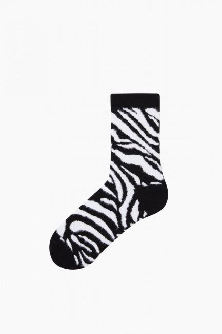 Bross 3'lü Zebra Desenli Tüylü Kadın Çorabı - Thumbnail
