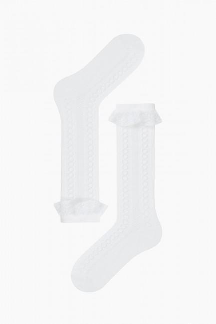 Bross 3'lü Zincir Desenli Dantel Aksesuarlı File Dizaltı Çocuk Çorabı - Thumbnail