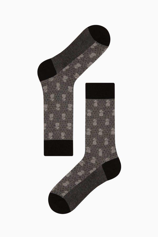Bross 4'lü Ananas Desenli Jakarlı Erkek Çorabı