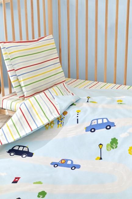 Bross - Bross 4-teiliges Auto gemustert Baby Bettbezug Set