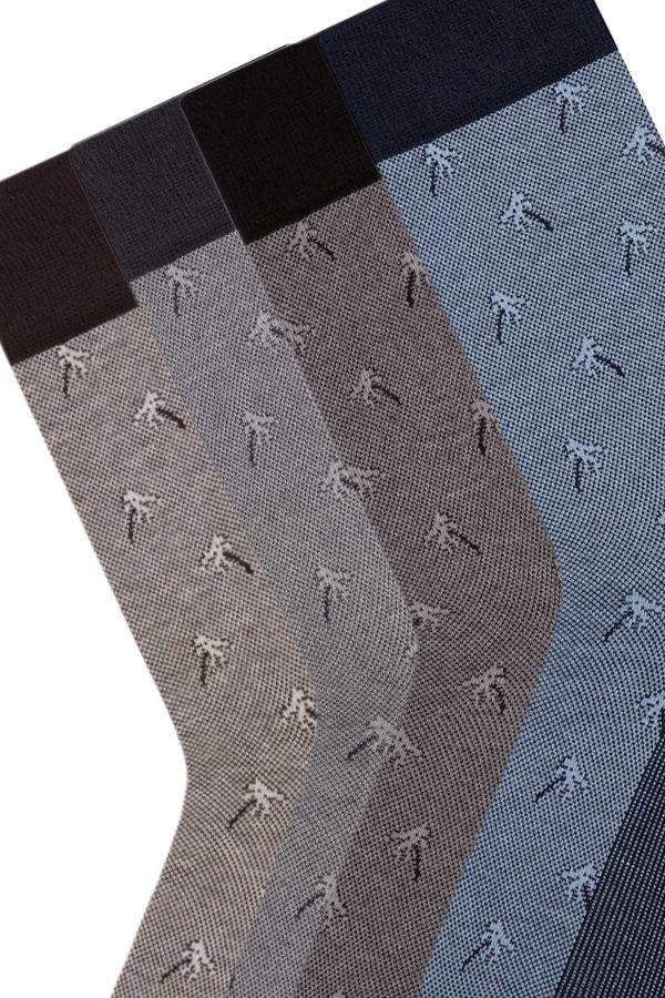 Bross 4'lü Palmiye Jakarlı Erkek Çorabı