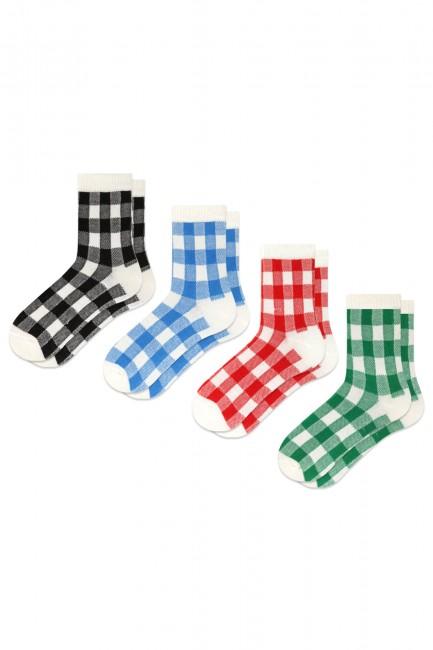 Bross - Bross 4-Pack Colorful Checkered Patterned Kids Socks
