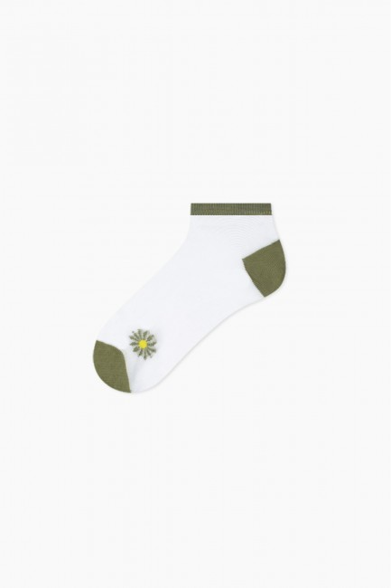 Bross 5-Pack Daisy Patterned Floss Women's Booties Socks - Thumbnail