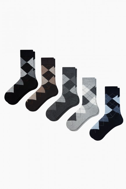Bross - Bross 5-piece Plaid Patterned Men's Socks