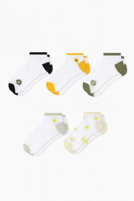 Bross - Bross 5er Pack Daisy Patterned Flush Booties Damen Socken