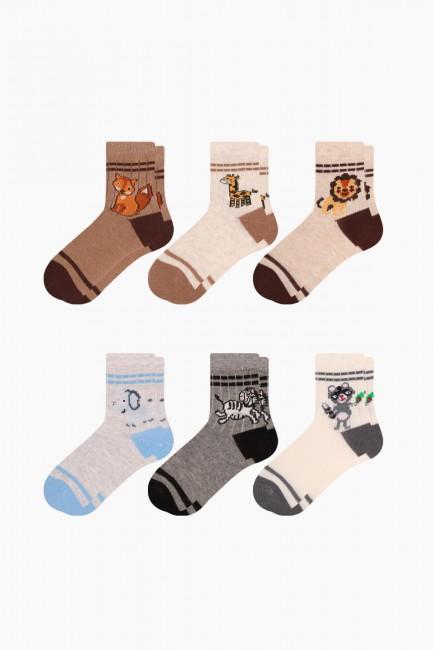 Bross - Bross 6'lı Hayvan Desenli Bebek Çorabı
