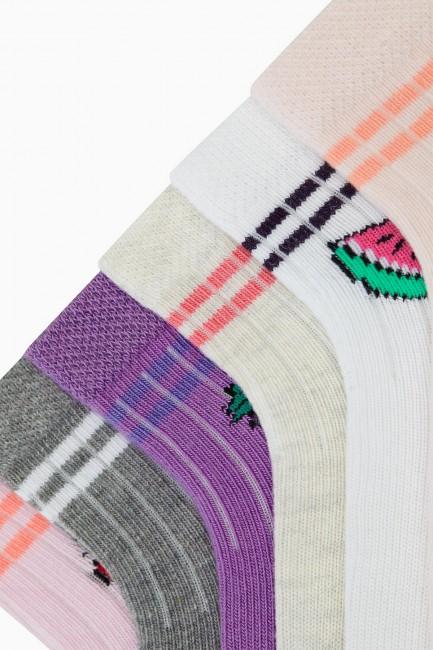 Bross 6'lı Meyve Desenli Bebek Çorabı - Thumbnail