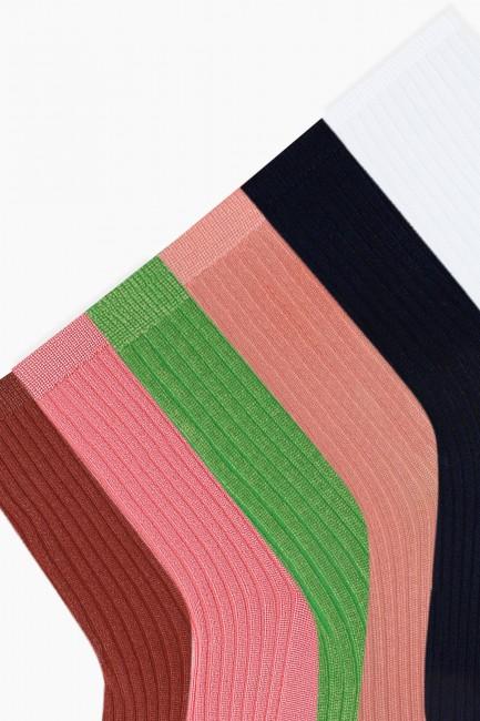 Bross 6'lı Renkli Floş Kadın Çorabı - Thumbnail