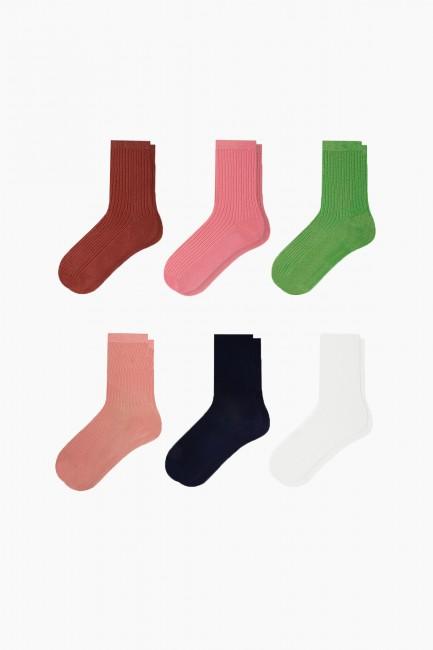 Bross - Bross 6'lı Renkli Floş Kadın Çorabı