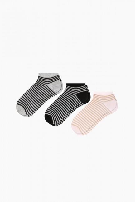 Bross - Bross 3'lü Simli Çemberli Patik Kadın Çorabı