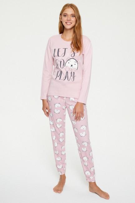 Bross - Bross Ayı Desenli Uzun Kollu Kadın Pijama Takımı