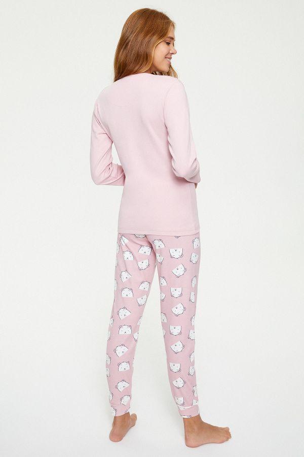 Bross Ayı Desenli Uzun Kollu Kadın Pijama Takımı