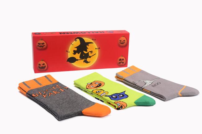 Bross Boxed 3-Pack Halloween Patterned Women's Socks-4 - Thumbnail