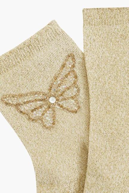 Bross Butterfly Accessory Silvery Women's Socks - Thumbnail