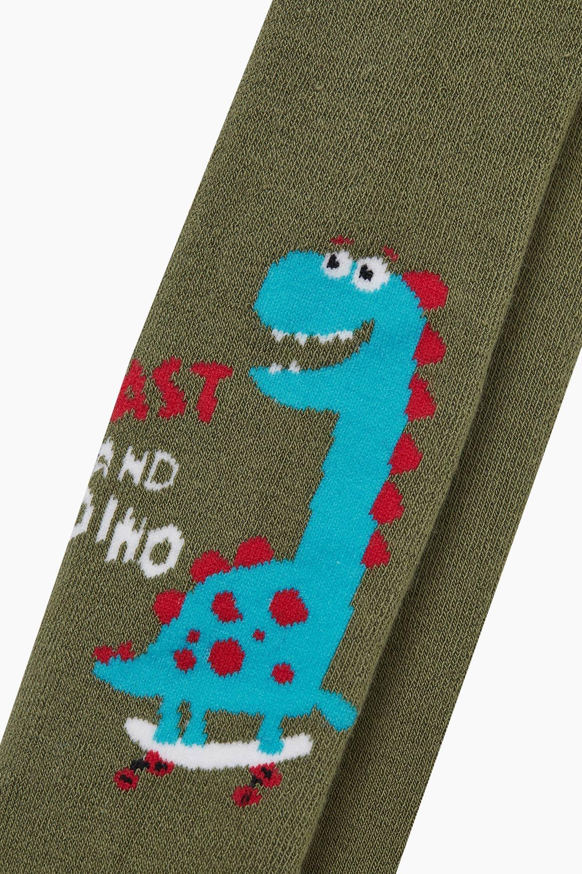 Bross Dinazor Desenli Havlu Külotlu Çocuk Çorabı - Thumbnail