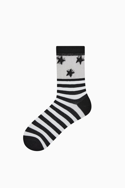 Bross - Bross Floss Ankle Star Patterned Women's Socks