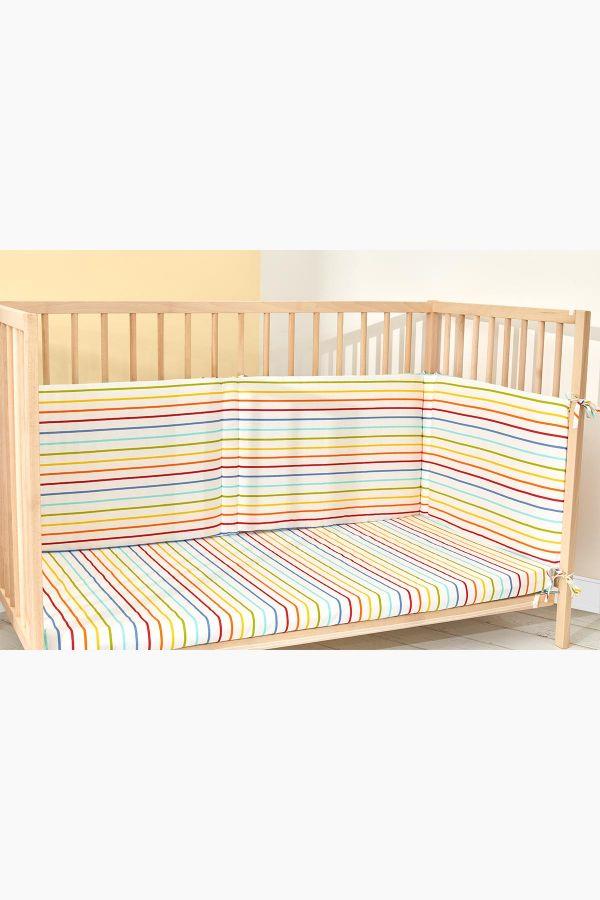 Bross Renkli Çizgi Desenli Bebek Yatak Koruyucu