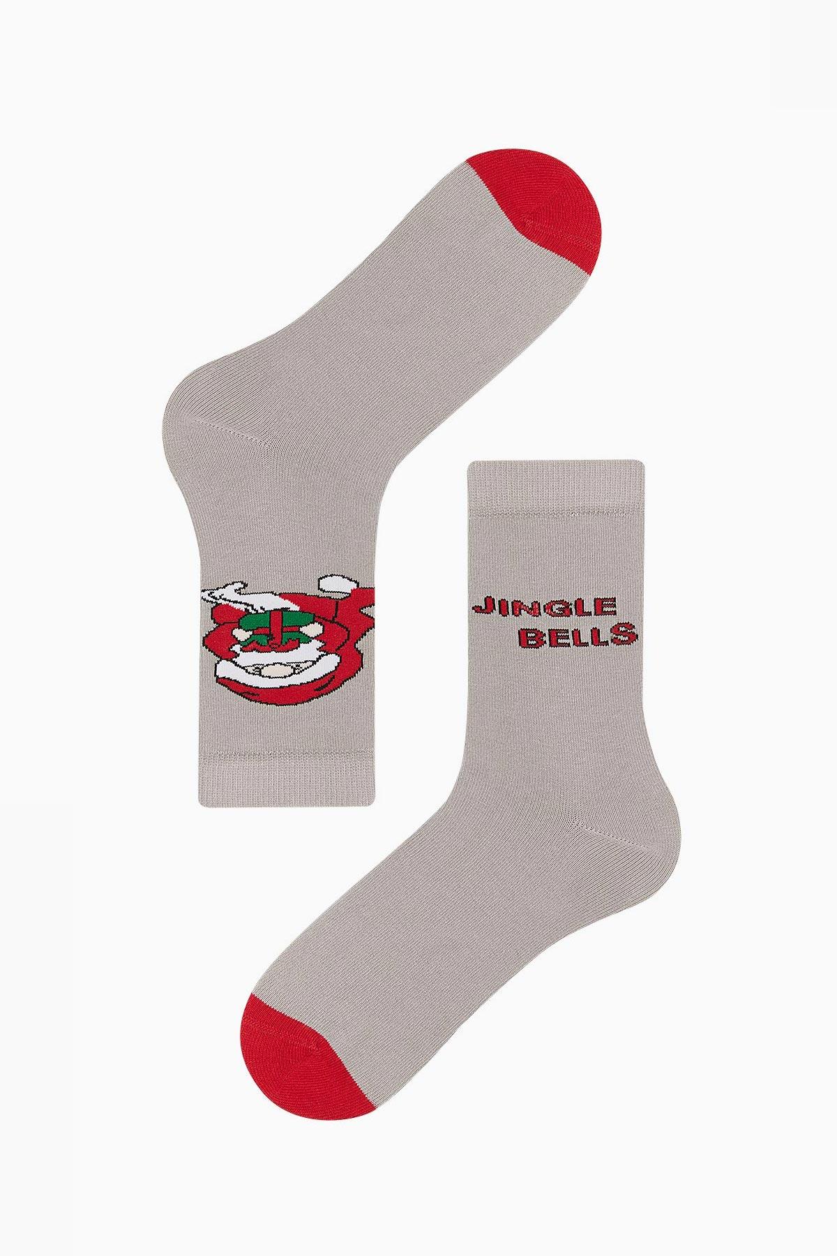 Bross - Bross Jingle Bells Yazılı Unisex Yılbaşı Çorabı