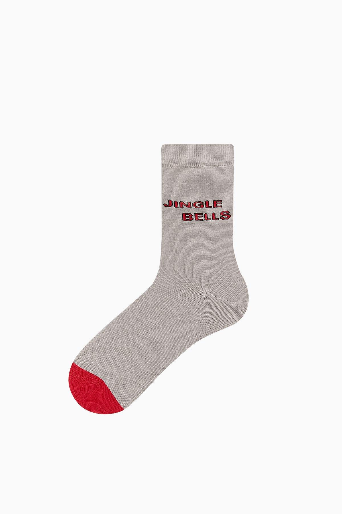 Bross Jingle Bells Yazılı Unisex Yılbaşı Çorabı - Thumbnail