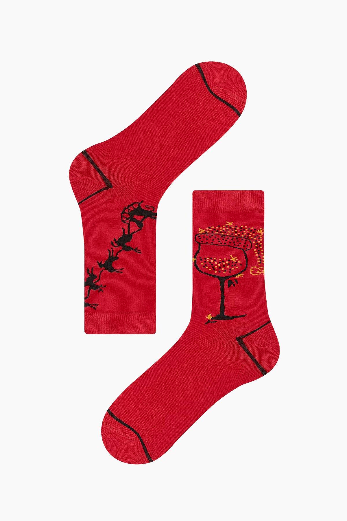 Bross Kutlama Desenli Yılbaşı Kadın Çorabı - Thumbnail