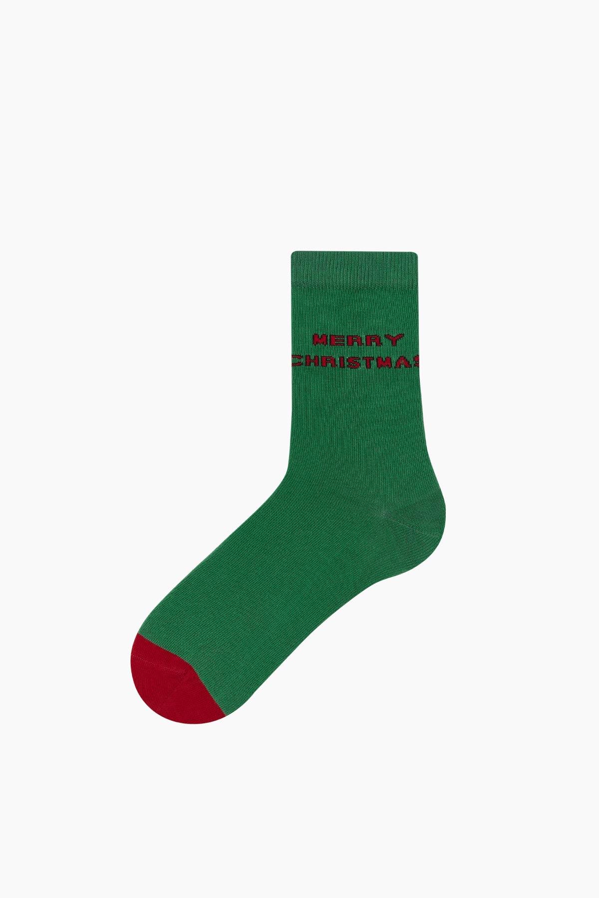 Bross Merry Christmas Yazılı Unisex Yılbaşı Çorabı - Thumbnail