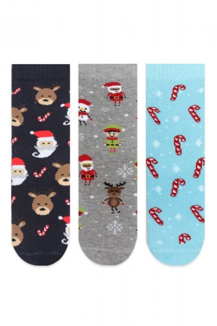 Bross - Bross 3'lü Noel Temalı Kaydırmaz Baskılı Havlu Çocuk Çorabı
