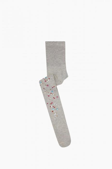 Bross - Bross Renkli Taş Baskılı Külotlu Çocuk Çorabı