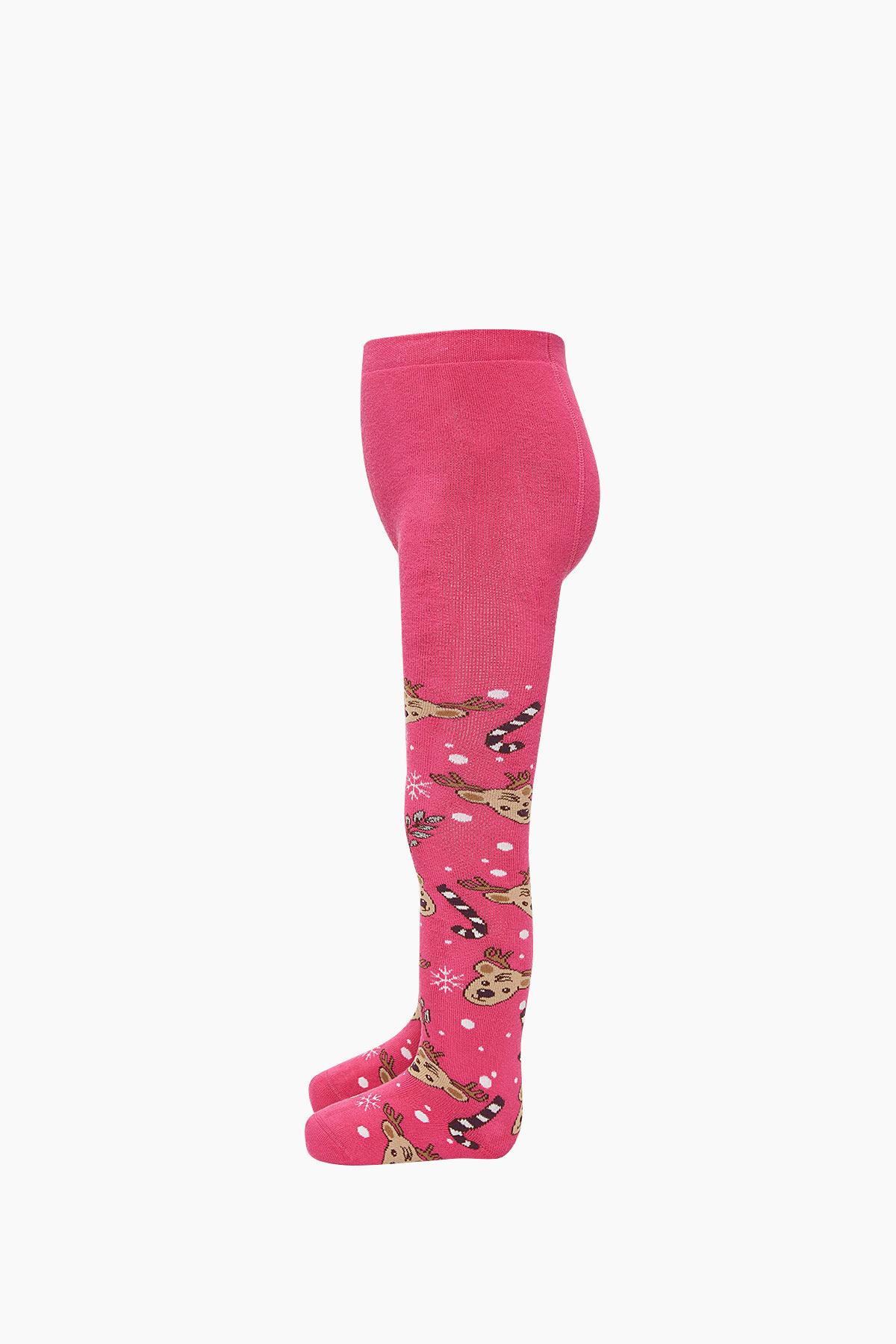 Bross Yılbaşı Geyik Desenli Havlu Külotlu Çocuk Çorabı - Thumbnail