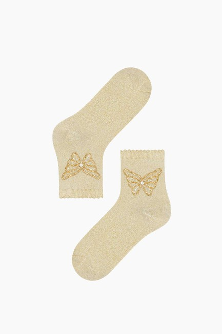 Butterfly Accessory Silvery Ladies Socks - Thumbnail