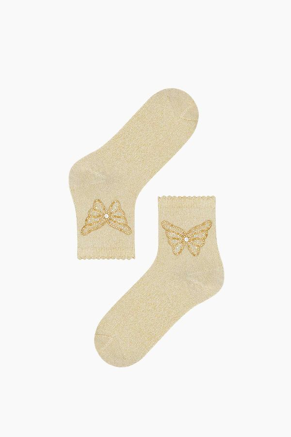 Butterfly Accessory Silvery Ladies Socks