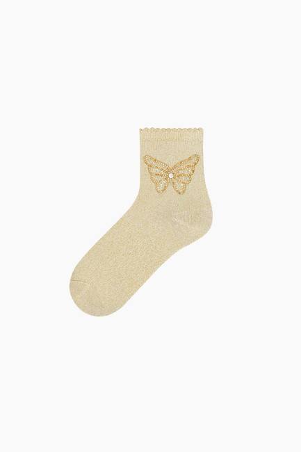 Bross - Butterfly Accessory Silvery Ladies Socks