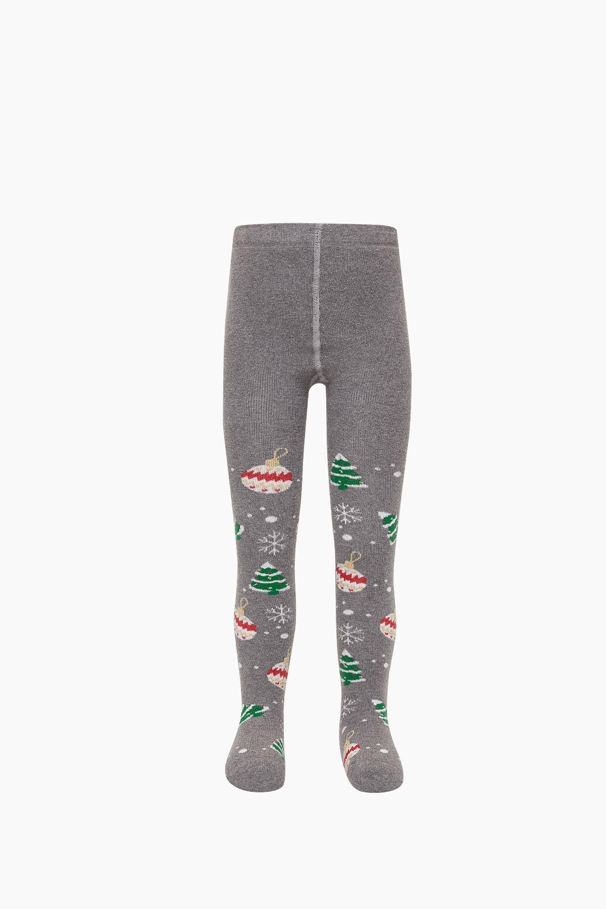 Bross Çam Süsü Desenli Havlu Külotlu Çocuk Çorabı - Thumbnail