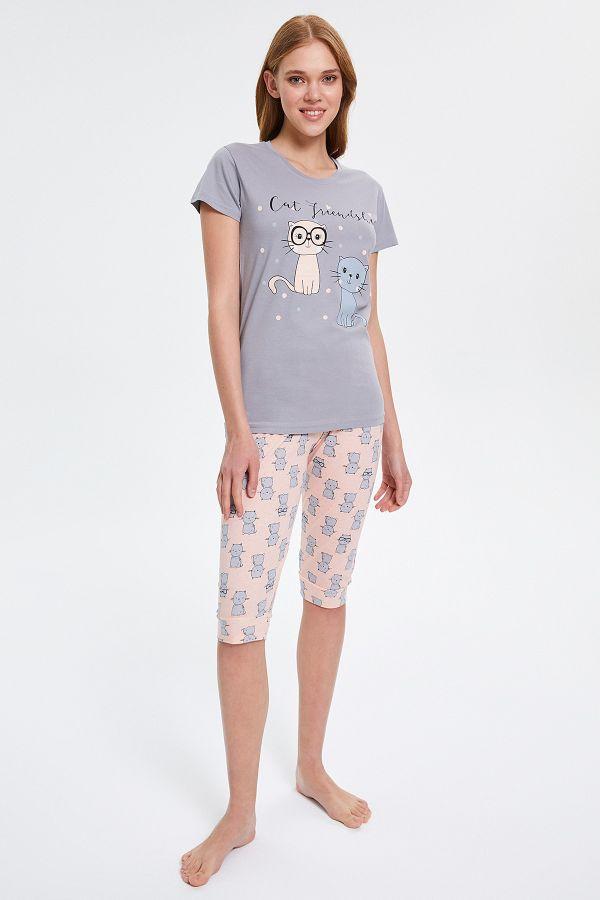 Cat Patterned Capri Women's Pyjama Sets