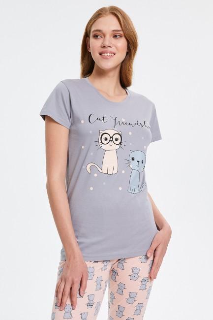 Cat Patterned Capri Women's Pyjama Sets - Thumbnail