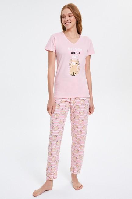 Bross - Circled Cat Patterned Short Sleeve Women's Pajamas Set
