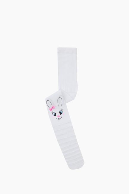 Bross - Çemberli Tavşan Desenli İnce Külotlu Çocuk Çorabı