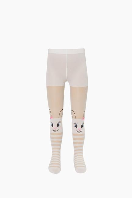 Çemberli Tavşan Desenli İnce Külotlu Çocuk Çorabı - Thumbnail