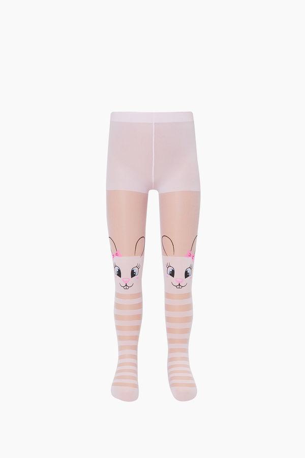 Çemberli Tavşan Desenli İnce Külotlu Çocuk Çorabı