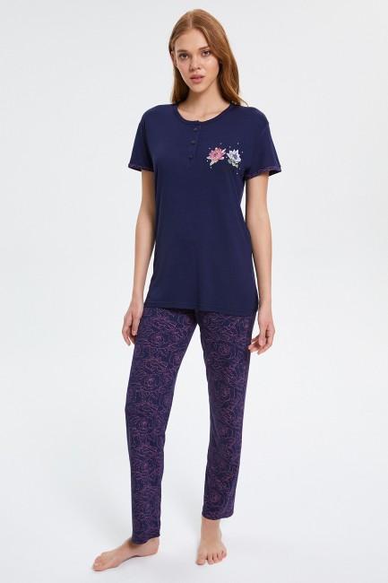 Bross - Çiçek Desenli Düğmeli Kısa Kollu Pijama Takımı